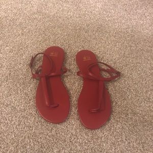 Shoes - Red Ankle Strap Sandals